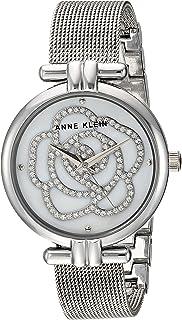 Anne Klein Womens AK/3103MPSV Swarovski Crystal Accented Silver-Tone Mesh Bracelet Watch