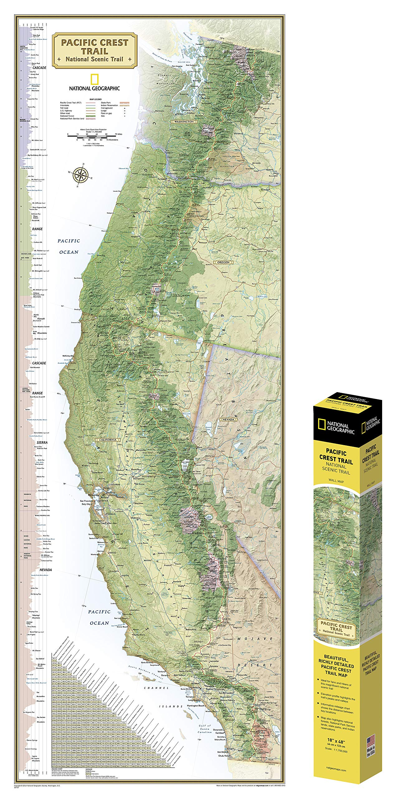 Pacific Crest Trail Oregon Map National Geographic: Pacific Crest Trail Wall Map in gift box Wall