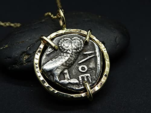 Amazon Com Owl Of Athena Coin Pendant Gold Ancient Owl Of