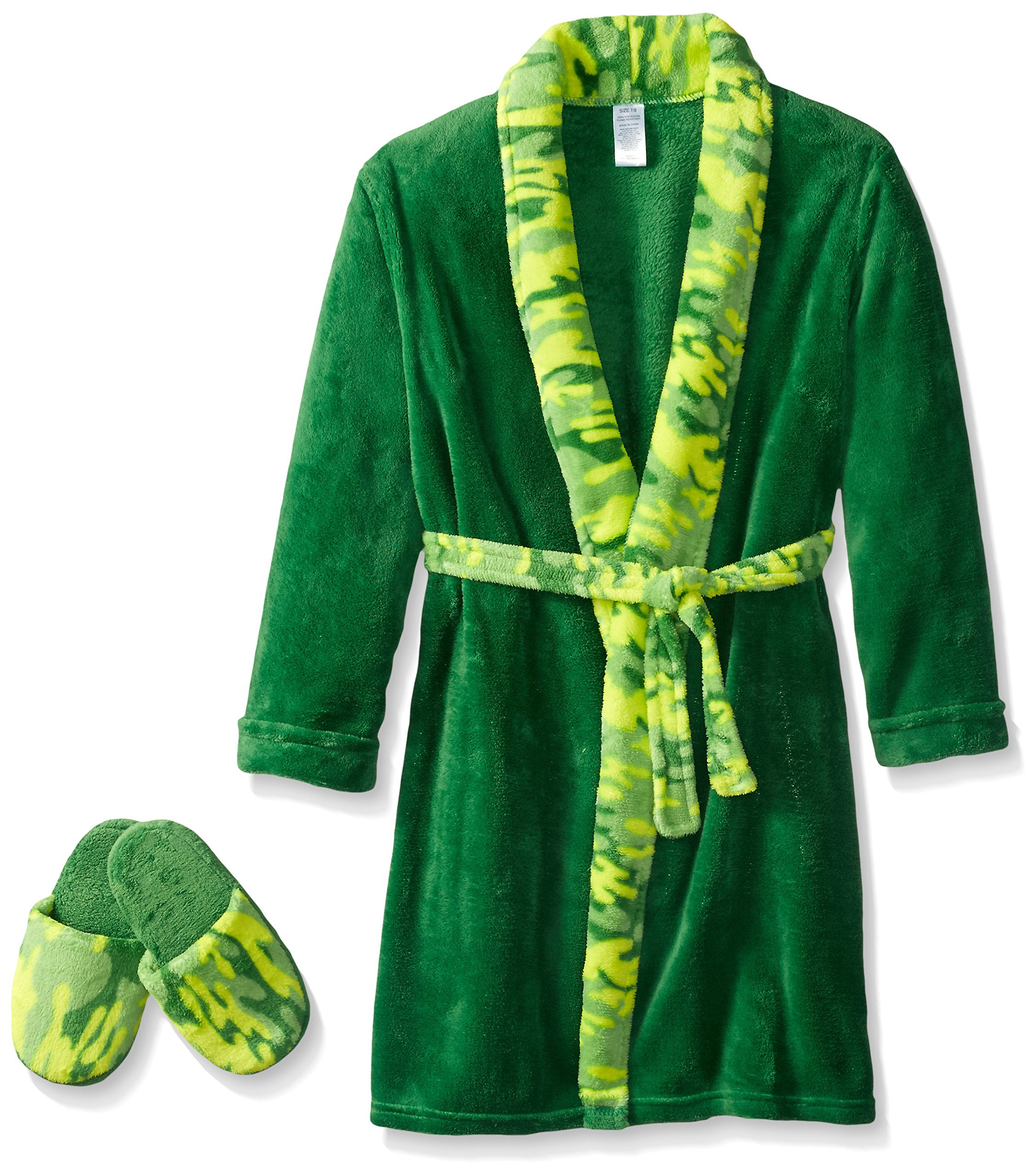 Too Cool 2 Sleep Boys' Little Green Camo Robe with Slippers, 5/6