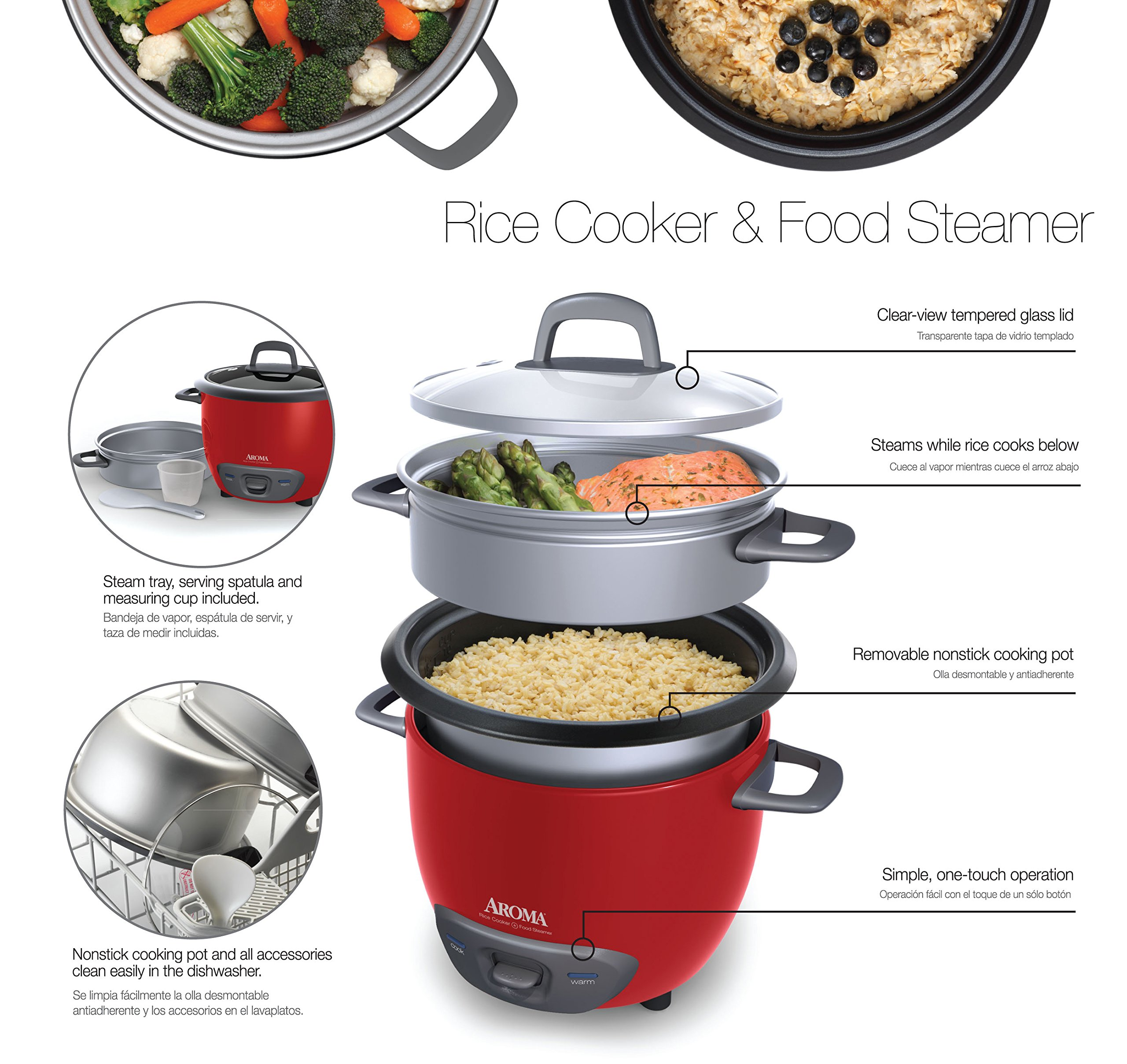 Aroma Housewares 6-Cup (Cooked) (3-Cup UNCOOKED) Pot Style Rice Cooker and Food Steamer by Aroma Housewares (Image #8)