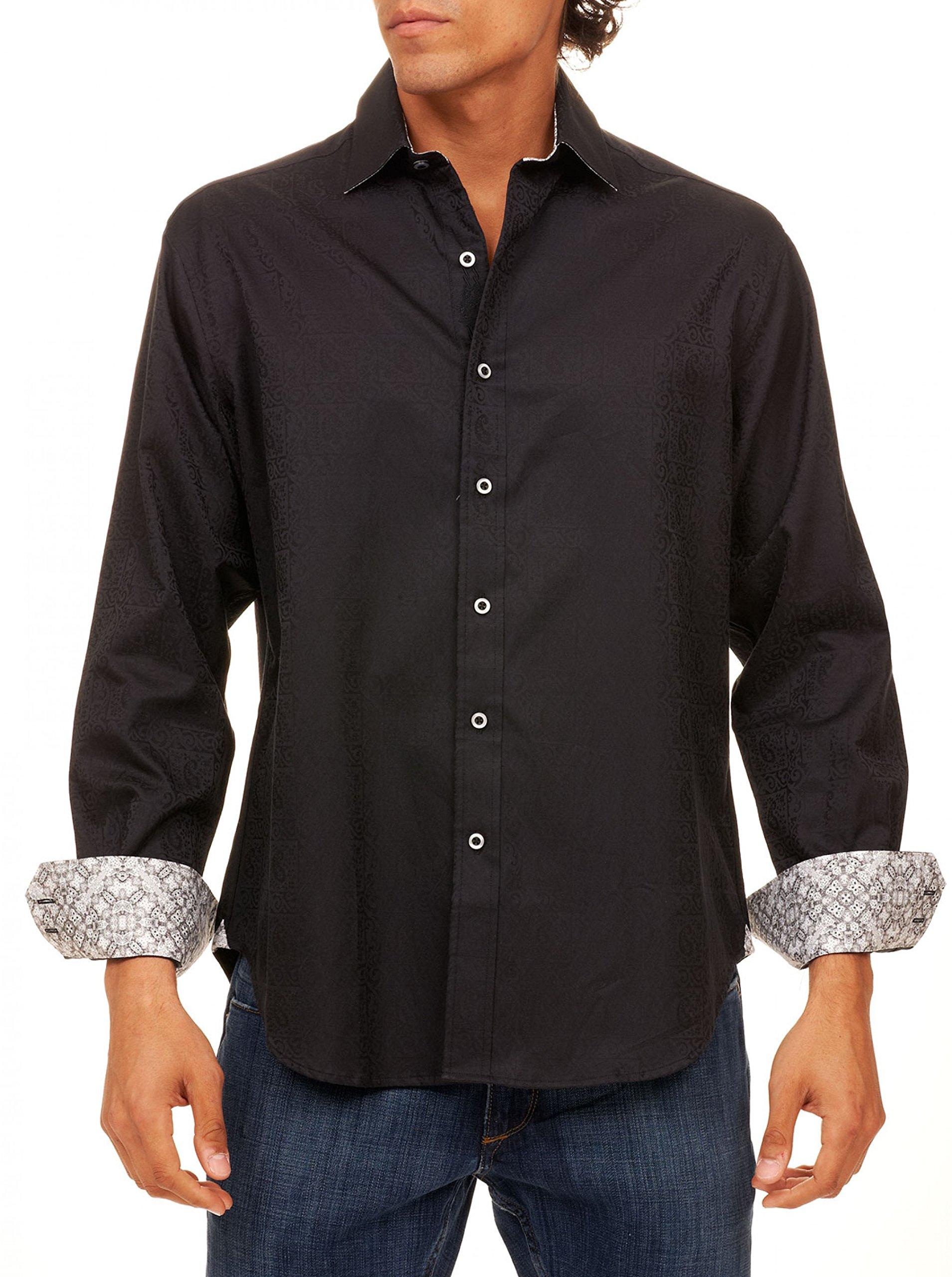 Robert Graham Men's Windsor Classic Fit Long Sleeve Shirt, Black, 3XLARGE