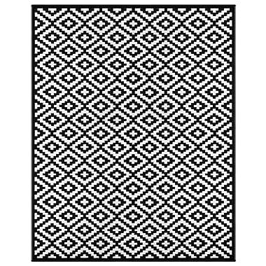 Green Decore Lightweight Outdoor Reversible Plastic Nirvana Rug (8 x 10, Black/White)