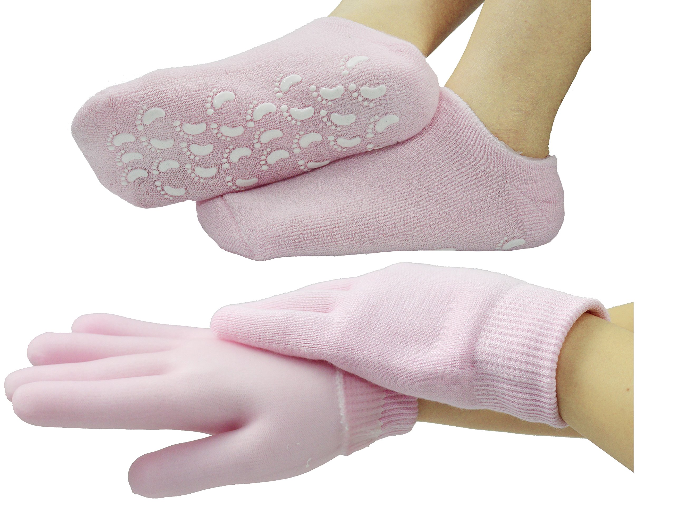 Gel Moisturizing Gloves and Spa Socks Cotton for Dry Cracked Heels Feet Skin Repair Treatment for Large Size Women in Dry Hands and Foot Use Overnight by Phenitech( 1pair socks & 1pair g(Pink)