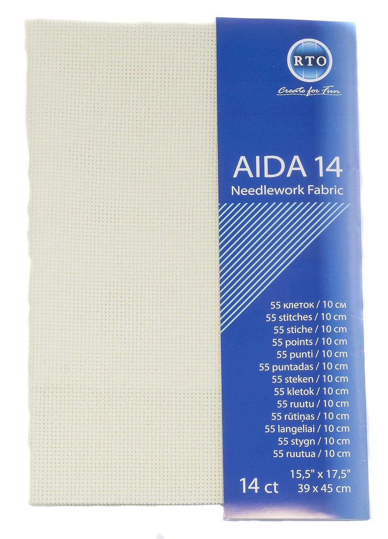RTO Aida 14 Count tessuto in puro cotone 49 x 45 cm colore: verde