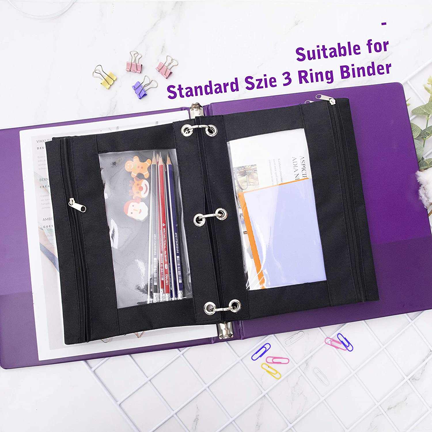 Zipper Pencil Pouch for 3 Ring Binder B5 Size Black LABUK Binder Pencil Pouch 1 Clear View Window Pack of 3 Pencil Case for Binder