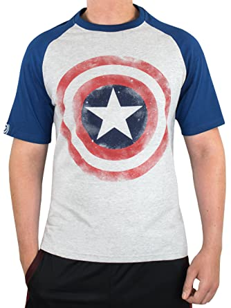 8cdf44fab Marvel Captain America Mens Avengers Captain America T-Shirt Grey:  Amazon.co.uk: Clothing