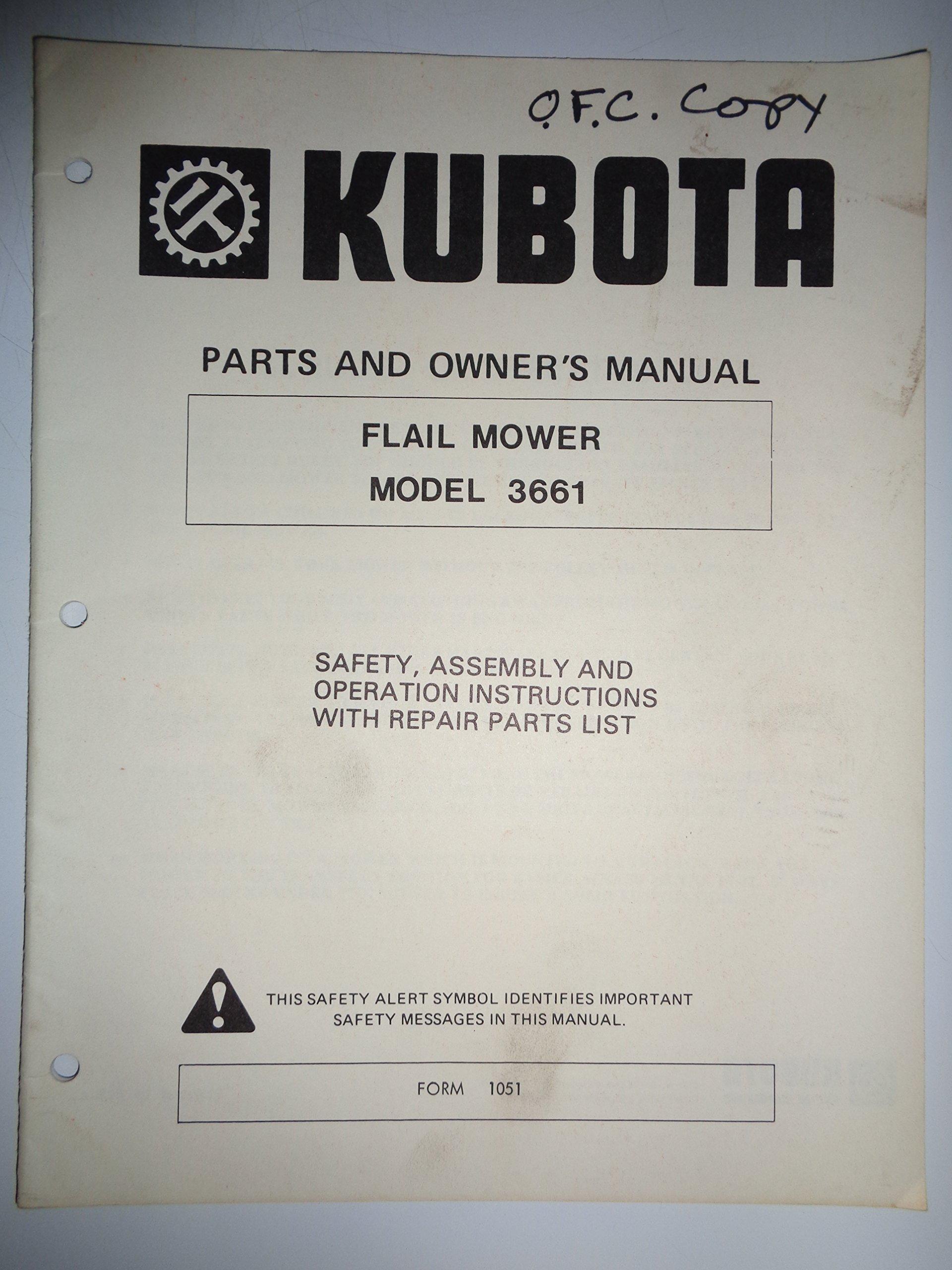 Kubota 3661 Flail Mower (made for use on L185 L245 B7100 B6100 Tractors)  Parts, Operators Manual 9/96: Kubota: Amazon.com: Books