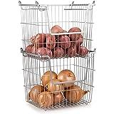 Home Basics Stackable Metal Pantry Organizer Basket - Space Saving Home and Kitchen Storage Bin Solution (2)