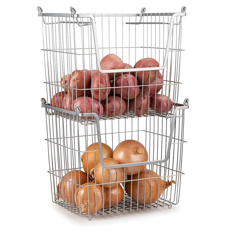 Home Basics Stackable Metal Pantry Organizer Basket Space Saving Home, Kitchen, Office Storage Bin Solution Set of 2