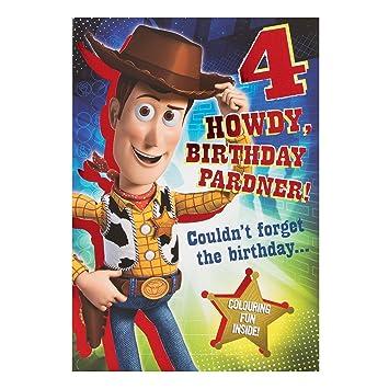Hallmark Disney Toy Story Woody 4th Birthday Card Howdy Partner Medium