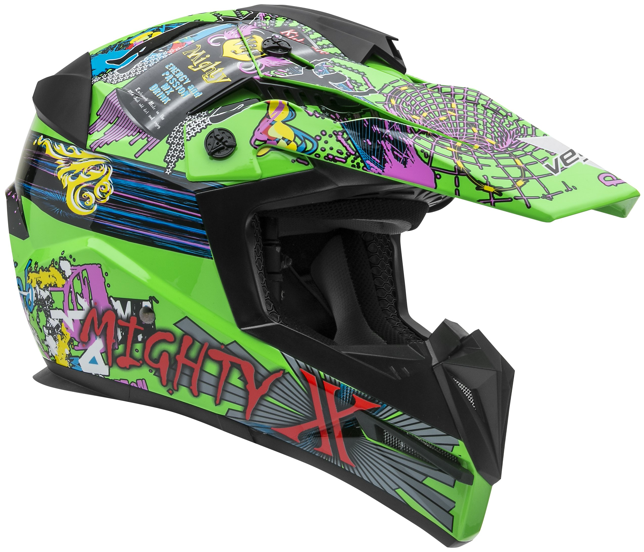 Vega Helmets MIGHTY X Kids Youth Dirt Bike Helmet – Motocross Full Face Helmet for Off-Road ATV MX Enduro Quad Sport, 5 Year Warranty (Super Fly Graphic,Small)