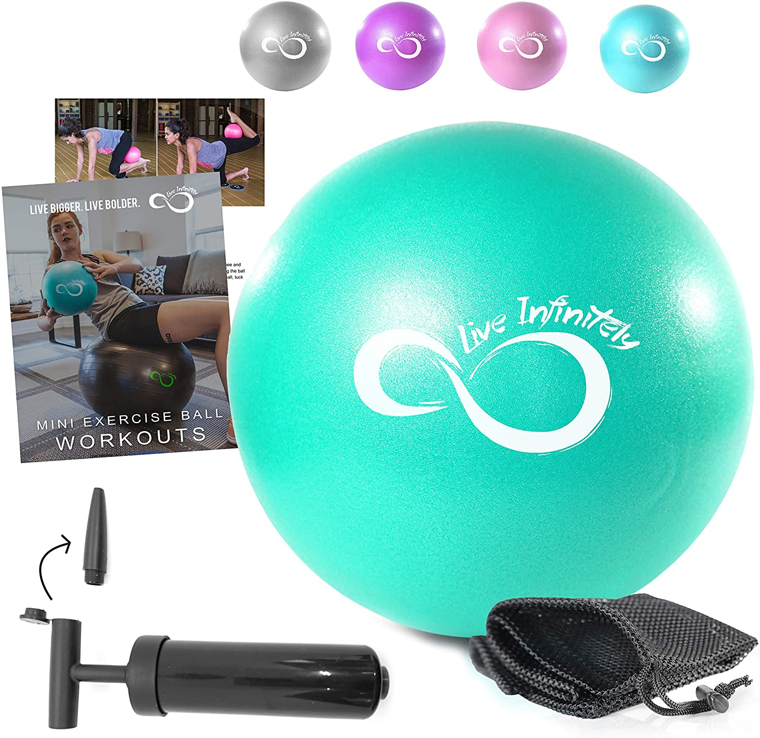 Yoga Pilates Core Training and Physical Therapy 9.8 Inch Small Bender Ball for Stability Barre KNDDYY Mini Exercise Ball
