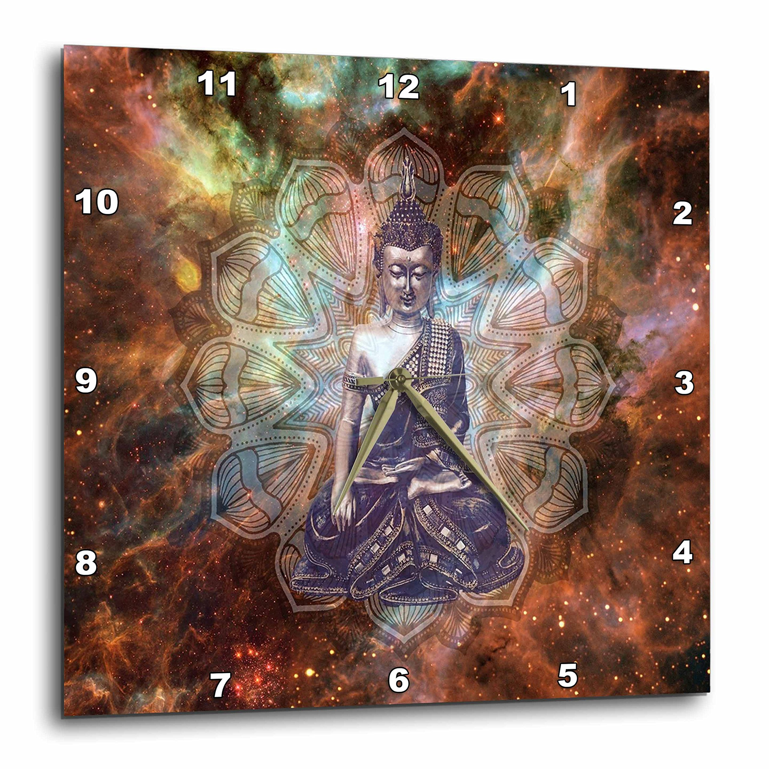 3dRose Religion - Image of Buddha From India Against Colorful Galaxy - 13x13 Wall Clock (dpp_279886_2)