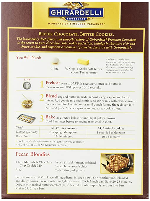 Ghirardelli Chocolate Chip Cookie Mix 20 Ounce Boxes Pack Of 12 Grocery Gourmet Food