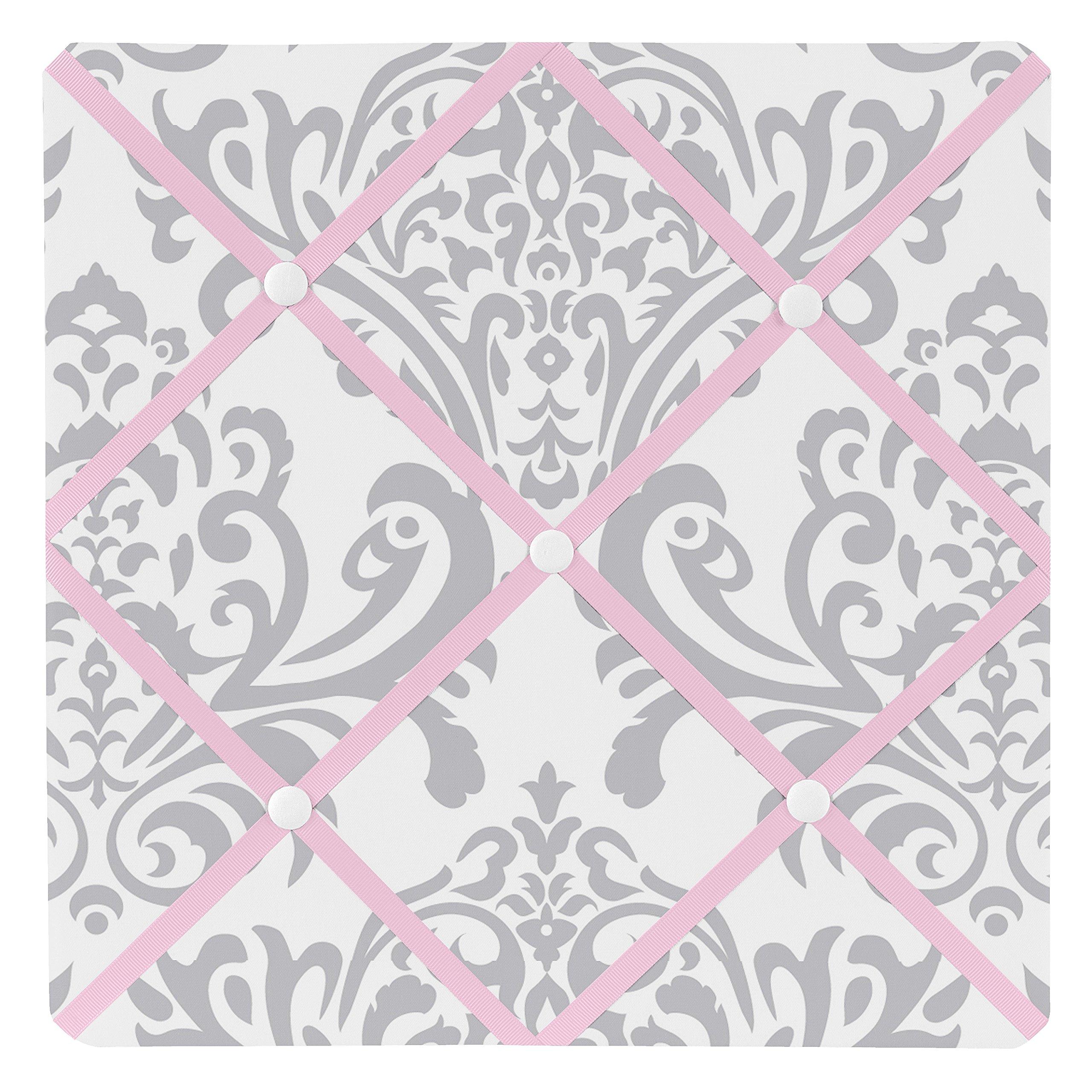 Sweet Jojo Designs Pink, Gray and White Elizabeth Fabric Memory/Memo Photo Bulletin Board by Sweet Jojo Designs