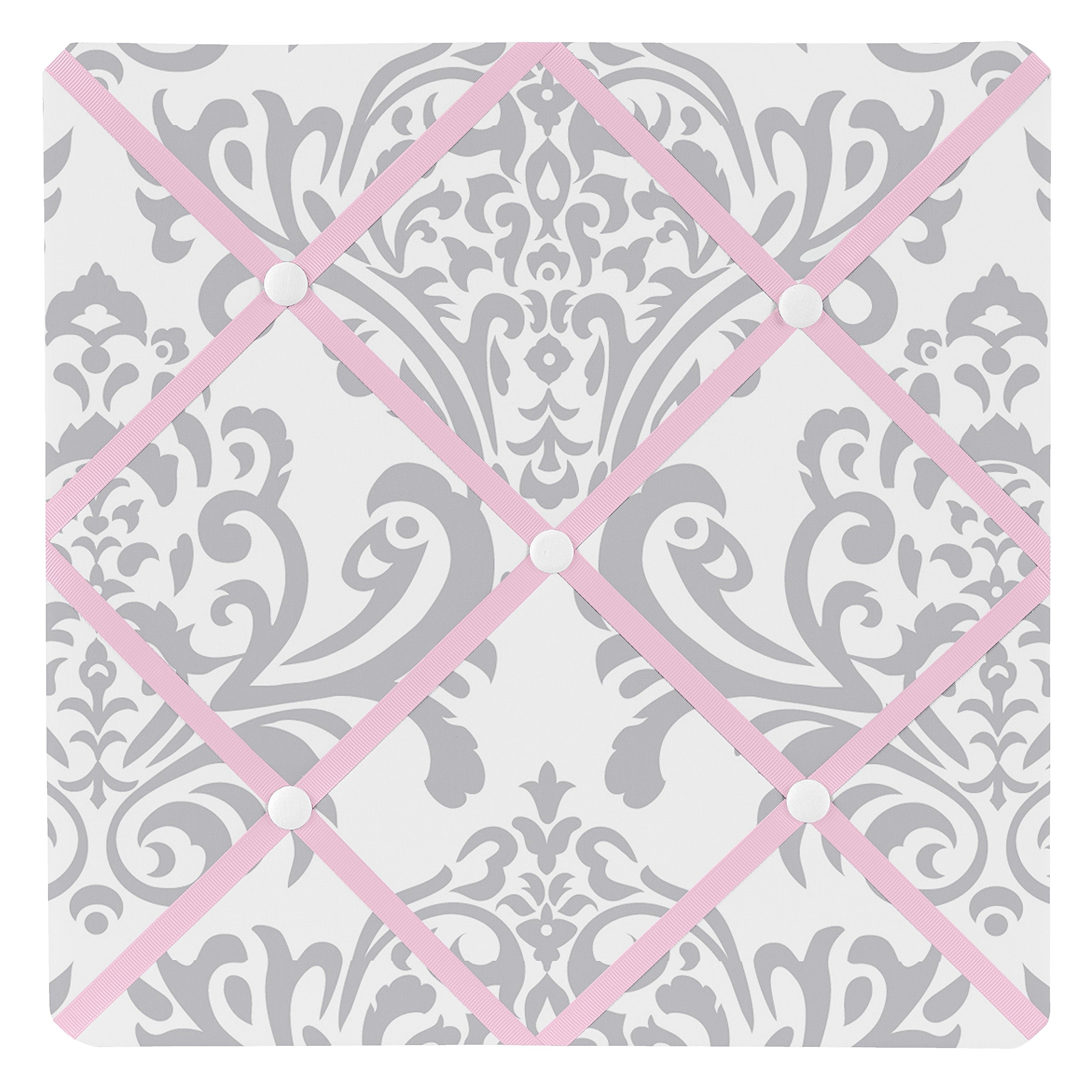Sweet Jojo Designs Pink, Gray and White Elizabeth Fabric Memory/Memo Photo Bulletin Board