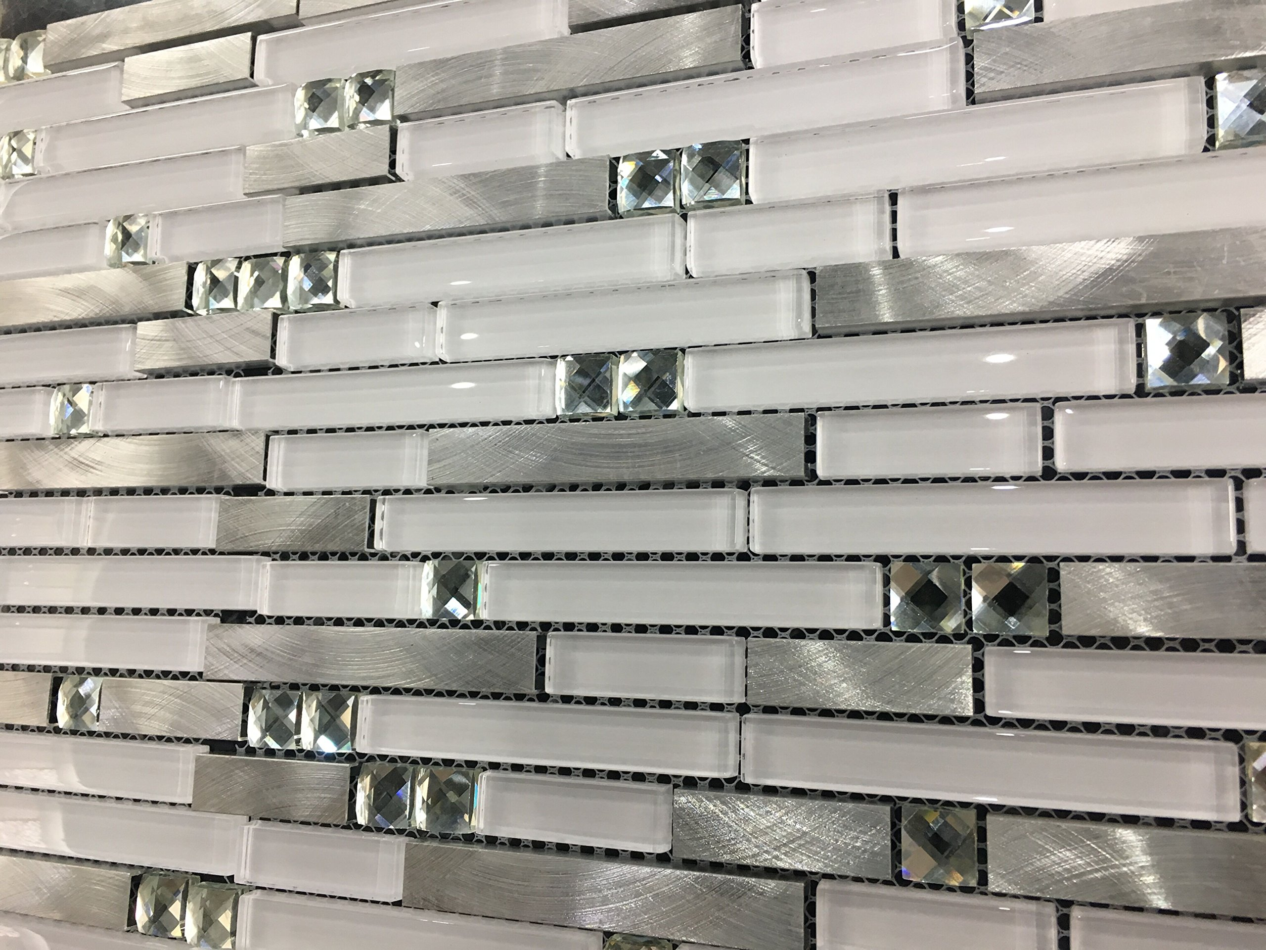 Super White Glass Aluminium Metal Strip Tiles Blends kitchen backsplash mosaic tiles,Diamond Mirror Mosaic Wall Tiles for Bathroom wall/Interior wall decoration stick,LSWG03 (11PCS 11sq.ft/pack) by LANDS GLASS METAL TILES