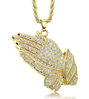 454e26c8c2b8c MENS ICED OUT GOLDEN/Silver PRAYING HANDS PENDANT 35