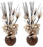 Flourish 813 Mini Articial - Vaso da fiori, colore: verde, 32 cm, 1 paio, Vetro, caffè/panna, 10x10x32 cm