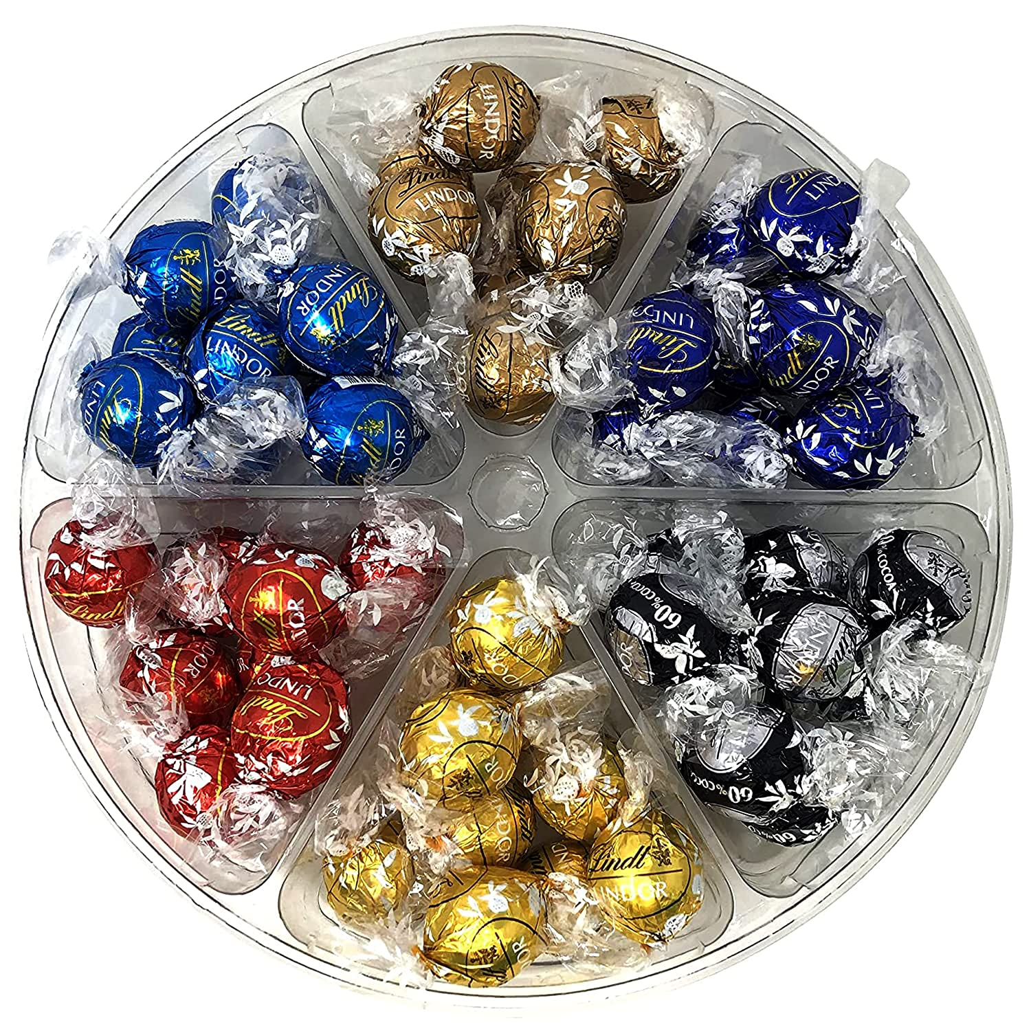 Mother's Day Chocolate Arrangement Gift Platter, Assorted Flavors Of Premium Chocolate Truffles In 6 Sectional Platter, Great Gifts for Corporate, Birthday, Mother's Day, Father's Day, Care Package