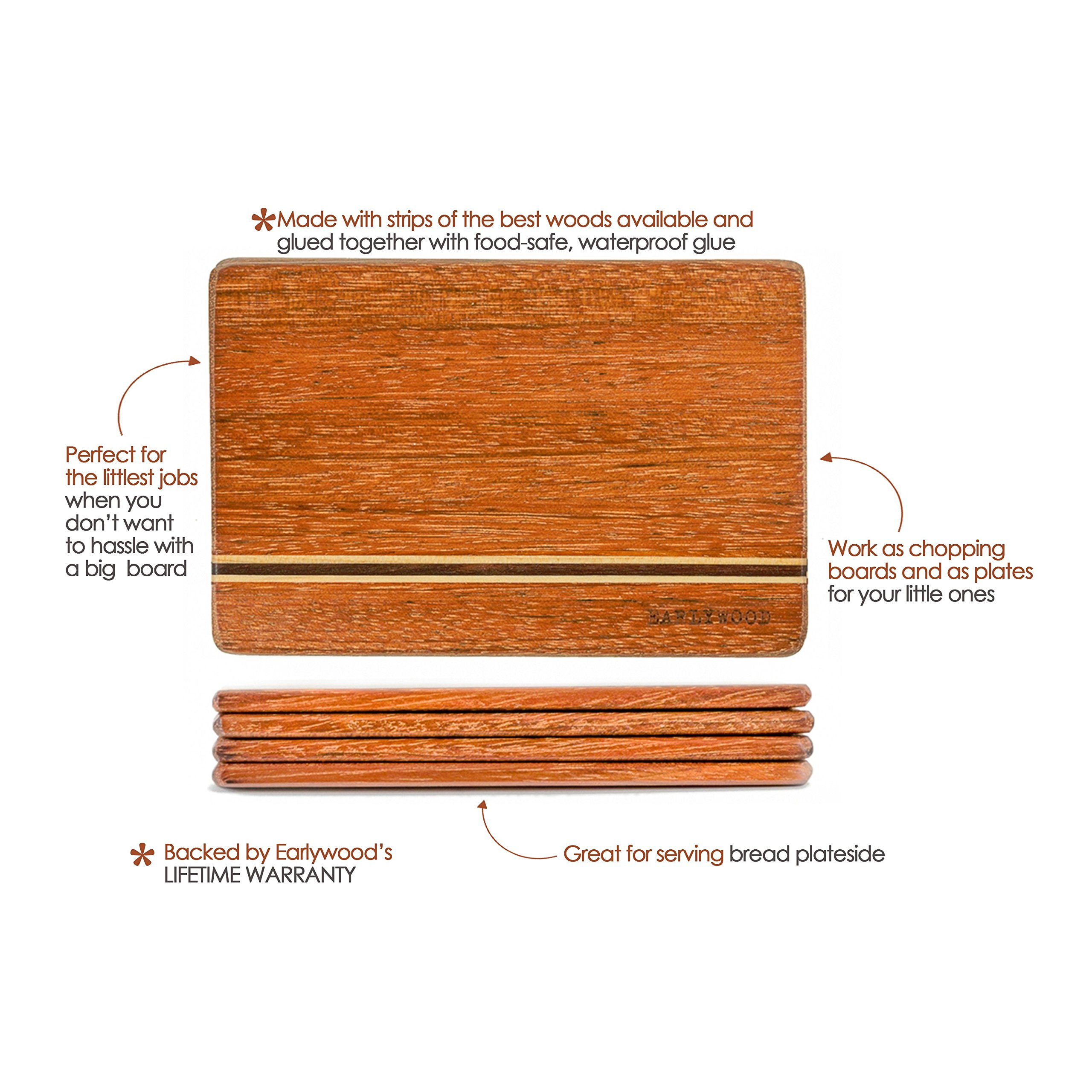 Small Wood Cutting Board Set. Set of 4 mini wooden cutting boards. Light and thin wood serving boards for wood cheese boards, spoon rests, trivets, wood serving set or bar cutting board set. The best! by Earlywood (Image #3)