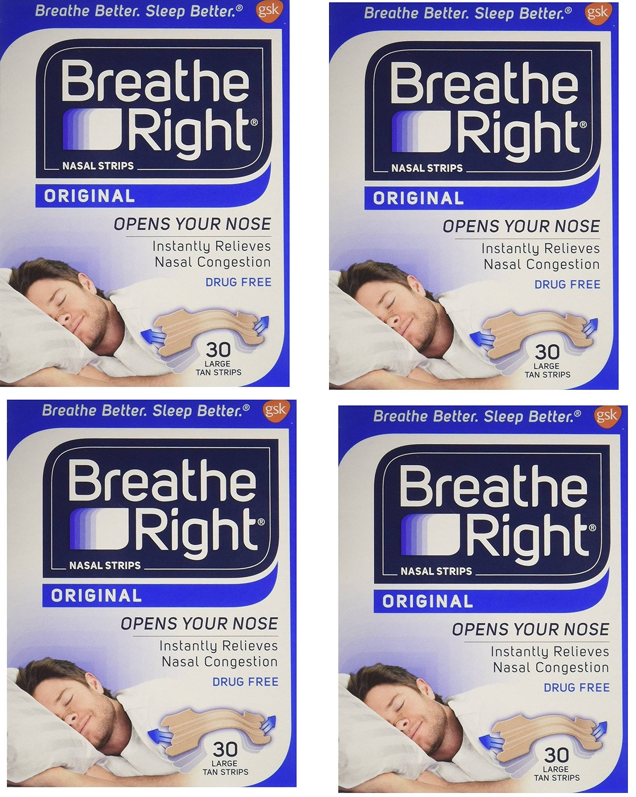 Breathe Right xYhlSC Drug Free Nasal Strips, Tan, Large, for Nasal Congestion Relief, 30 Count (4 Pack)