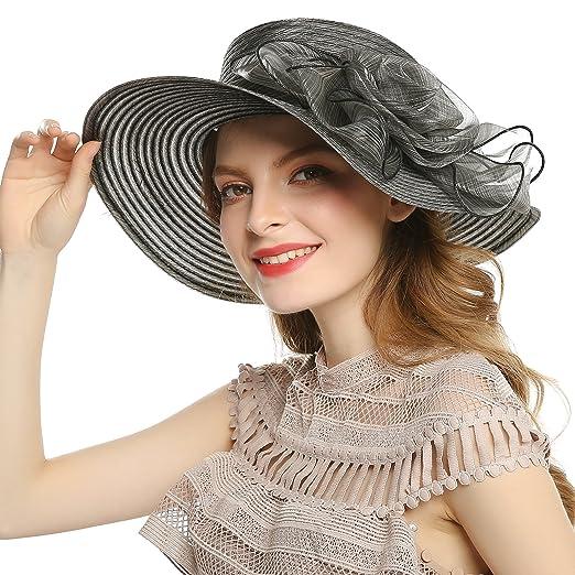 89187cb4395 WELROG Women s Derby Church Dress Hat - Fascinators Fancy Hats Wide Brim  Floppy Tea Party Wedding