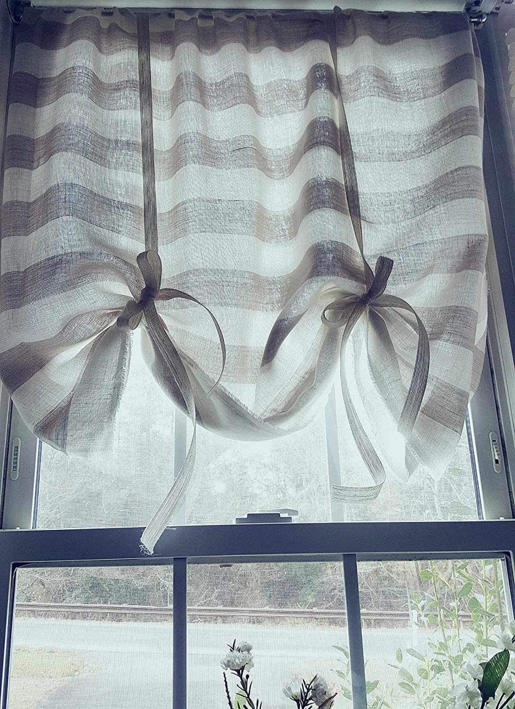Amazon Com Tie Up Curtains Striped Linen Curtains Kitchen