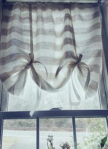 Amazon.com: Tie up curtains, Striped Linen Curtains, Kitchen ...