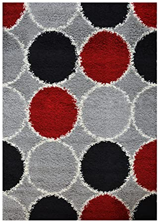 Shaggy Collection Grey Multi Color Circles Shag Area Rugs (4109) (3u00273u0026quot