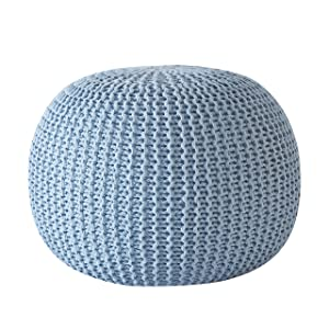 Urban Shop Round Knit Pouf - Hand Woven Cotton, Light Blue