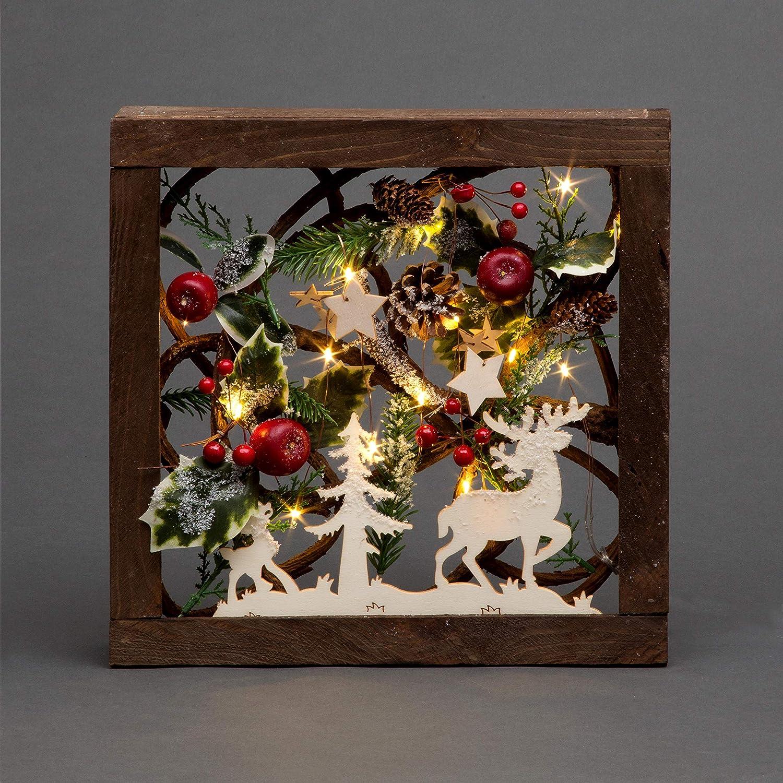 SHATCHI - Conos de Pino con Luces LED de 30 cm, diseño de Bayas en 3D, diseño de Escena navideña, Marco de Madera Cuadrado, decoración de Mesa, Adornos de Navidad, Color marrón
