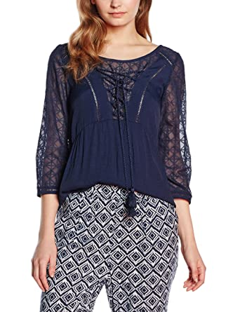 Jidori - Blouse - Manches 3/4 - Femme - Bleu (Navy) - FR: 40 (Taille Fabricant: M)2TWO extrêmement wSu1p