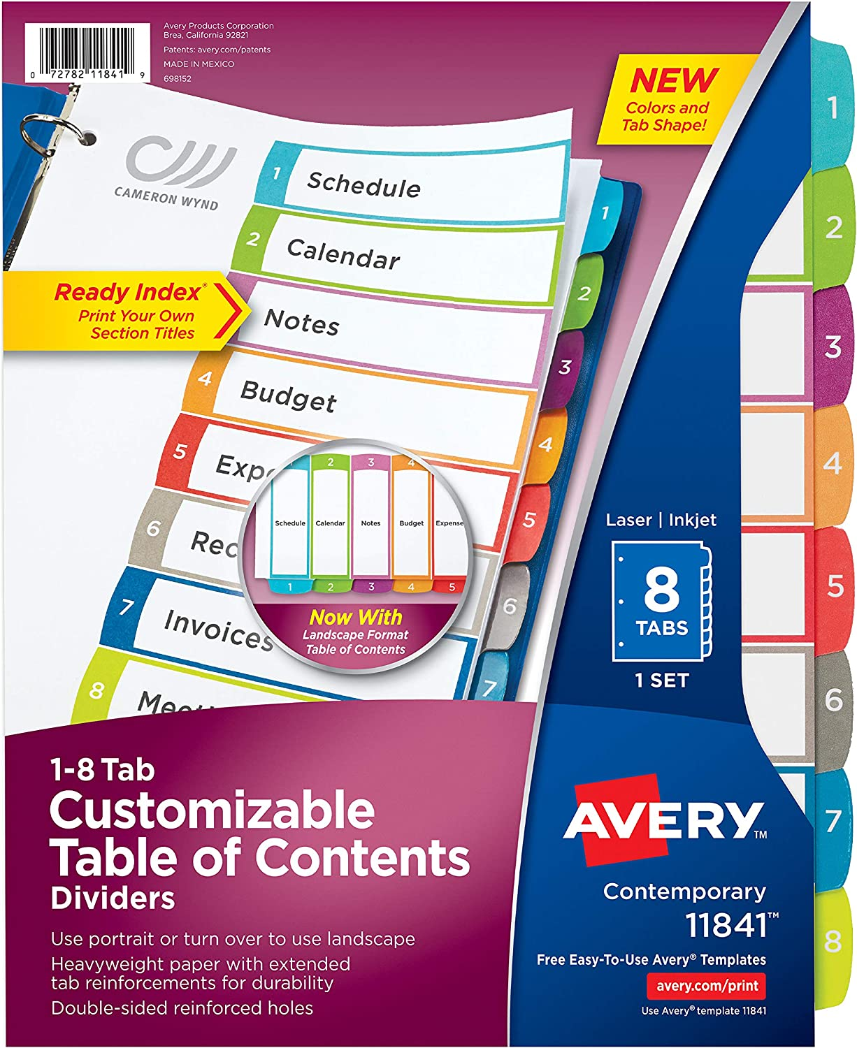 Avery 8-Tab Dividers for a 3 Ring Binders, Customizable Table of Contents, Multicolor Tabs, 1 Set (11841) : Office Products