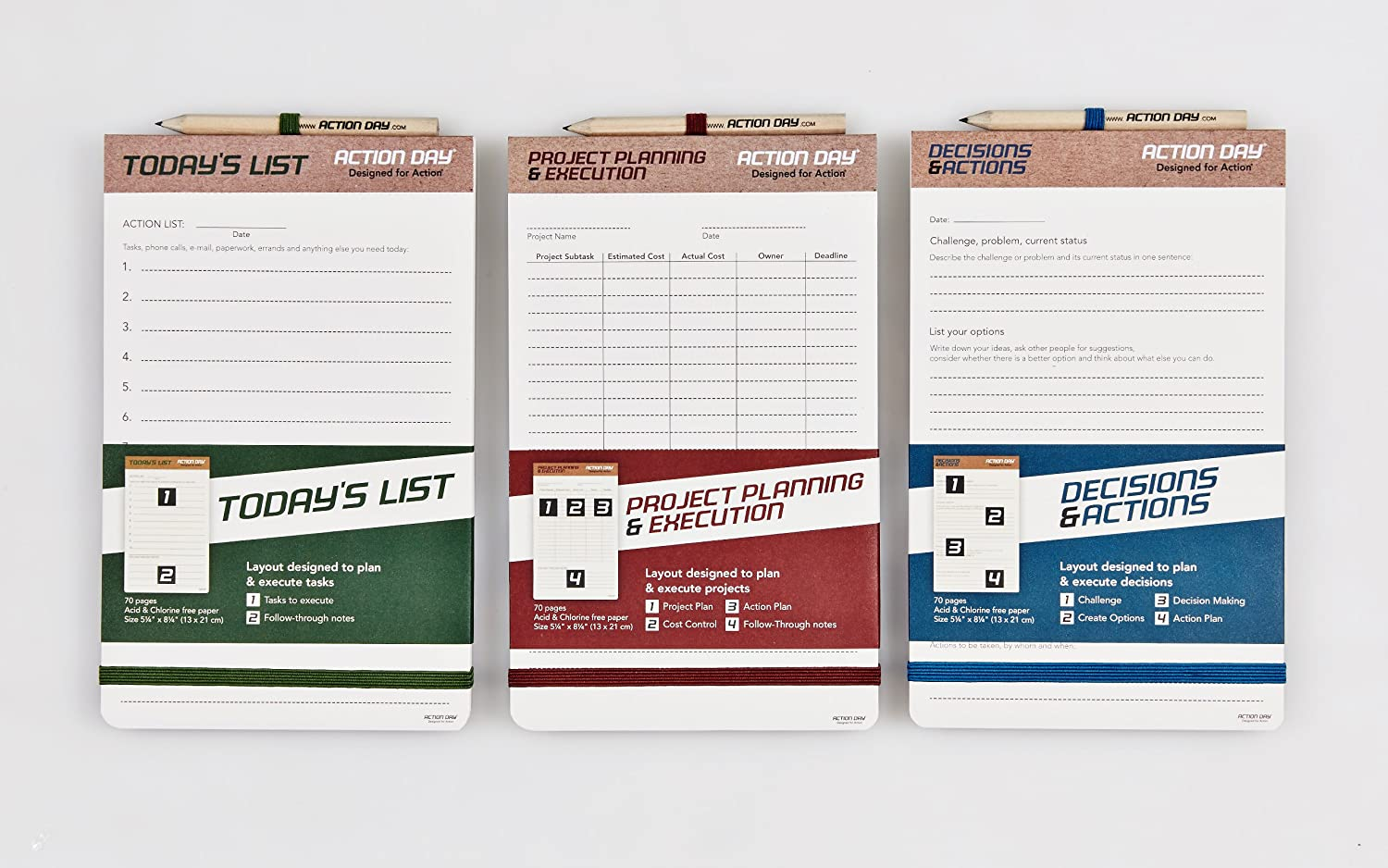 Decisions /& Actions Pad Action Day Size 5x8 Planning Pad Layout Designed to Plan /& Execute Decisions