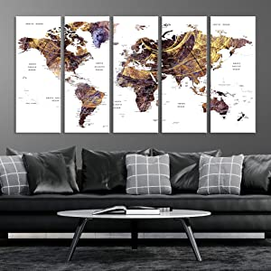 Brown World Map Wall Art, Multipanel Large Map of World Canvas Art Print for Home Decor Framed Push Pin World Map Travel Map Living Room Dining Room Home Office Decor Artwork Painting on Canvas