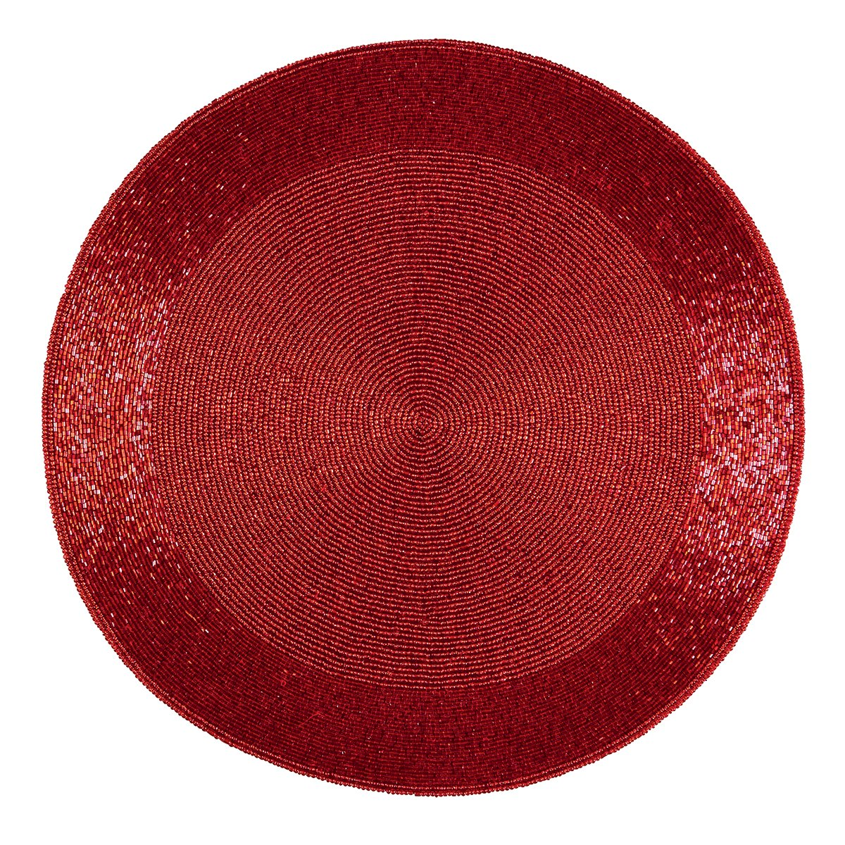 Christmas Tablescape Décor - Red round hand beaded placemats - Set of 4 by C&F