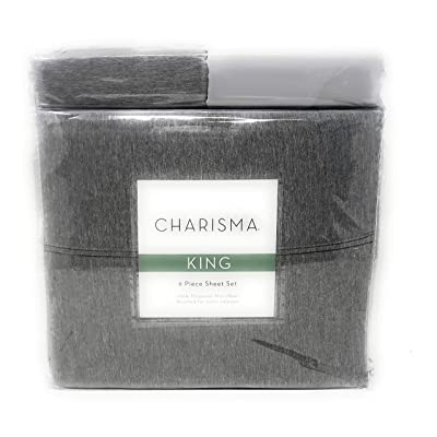 CMA Charisma Microfiber King 6-Piece Sheet Set Grey Heather Brushed for Extra Softness: Home & Kitchen