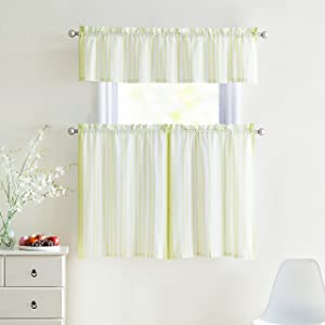 Victoria Classics 3 Piece Window Curtain Set 100% Cotton Stripe Design, One Valance, Two Tiers 36 in Long (Light Green and White)