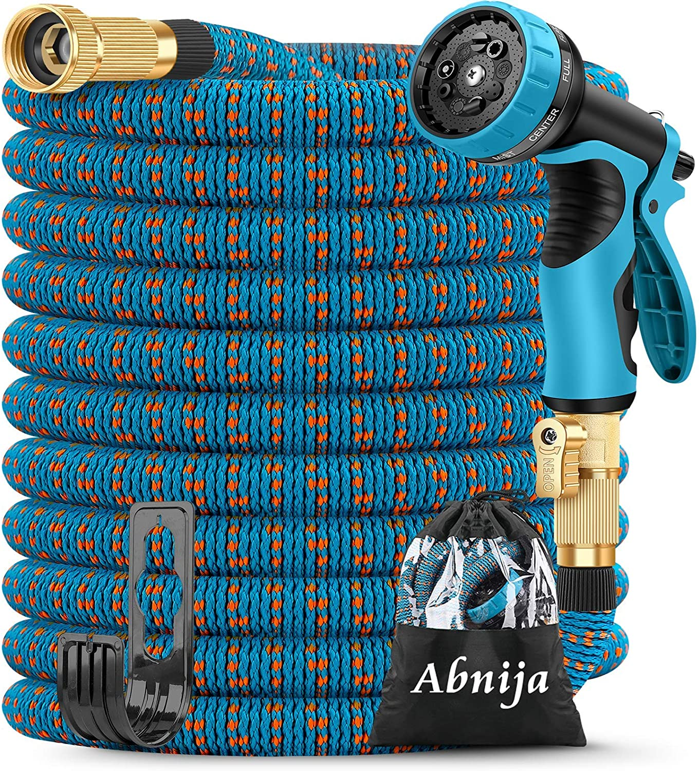 75ft Garden Hose, Abnija Expandable Water Hose Leakproof with Durable 3-Layers Latex Extra Strength Fabric Solid Brass Fittings Flexible Kink Free Hose Pipe for Watering Gardening Washing