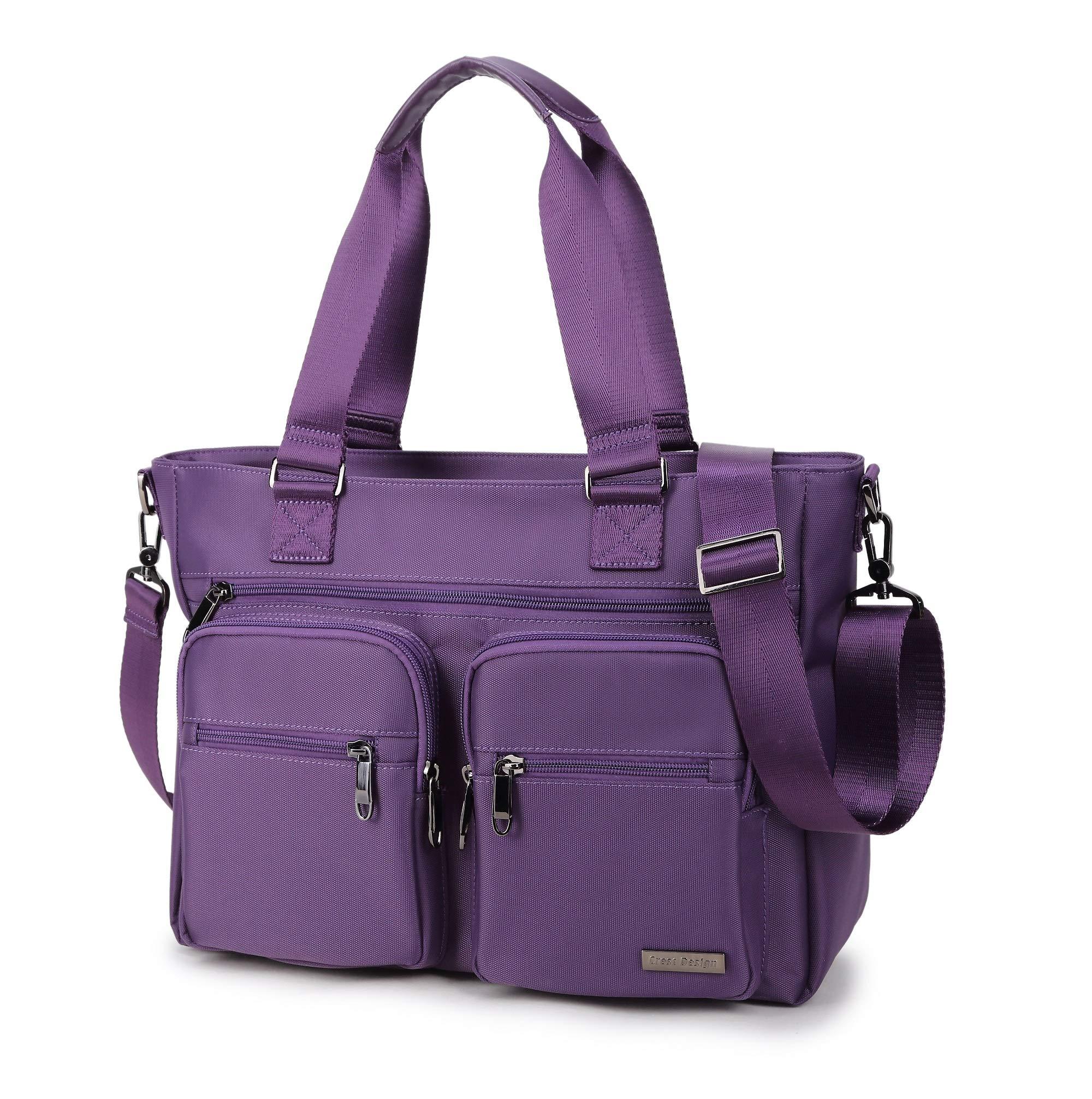 Crest Design Water Repellent Nylon Shoulder Bag Handbag Tablet Laptop Tote as Travel Work and School Bag. Perfect Nursing Tote to Carry Medical, Nursing Supplies (Orchid)