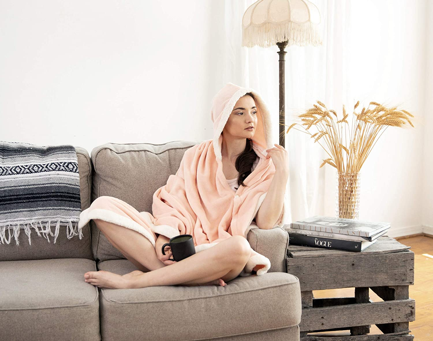 "Chic Home Angel Snuggle Hoodie Robe Cozy Super Soft Ultra Plush Flannel Wearable Blanket Sherpa Trim with 2 Pockets Hood Button Closure58"" x 72"", 58 x 72, Blush,BHS18052-AN"