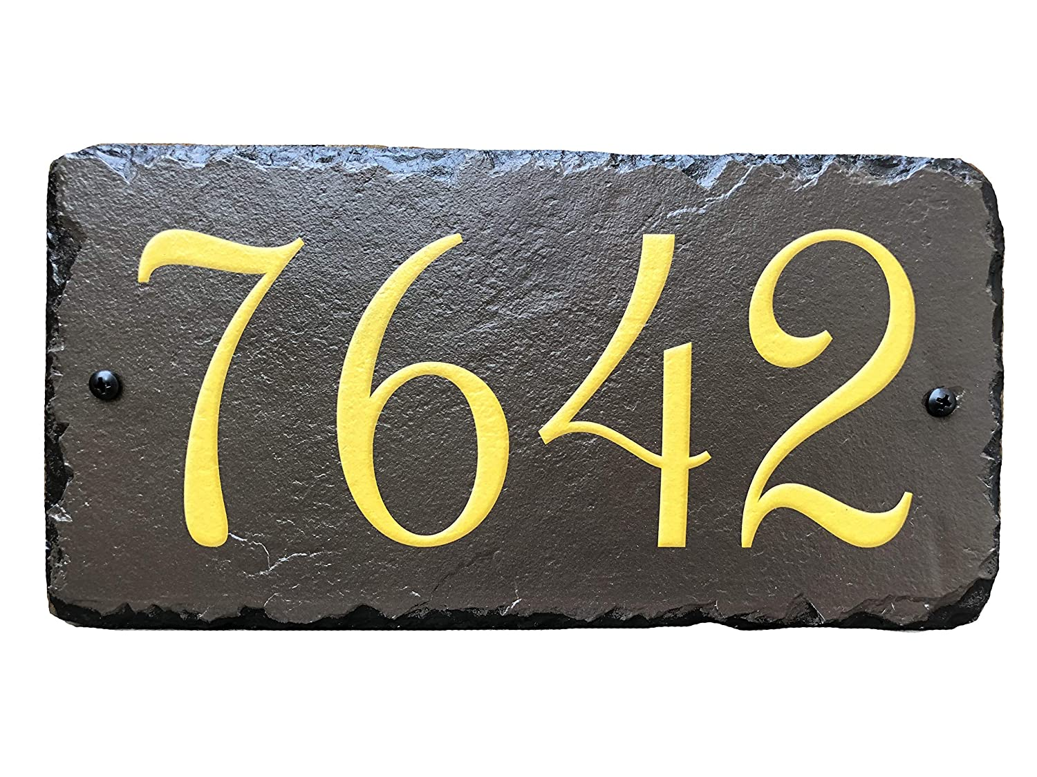 Sassy Squirrel Handcrafted and Customizable Slate Home Address Plaque Gold/Silver on Brown (12x6) Sassy Squirrel Ink 5355925225174
