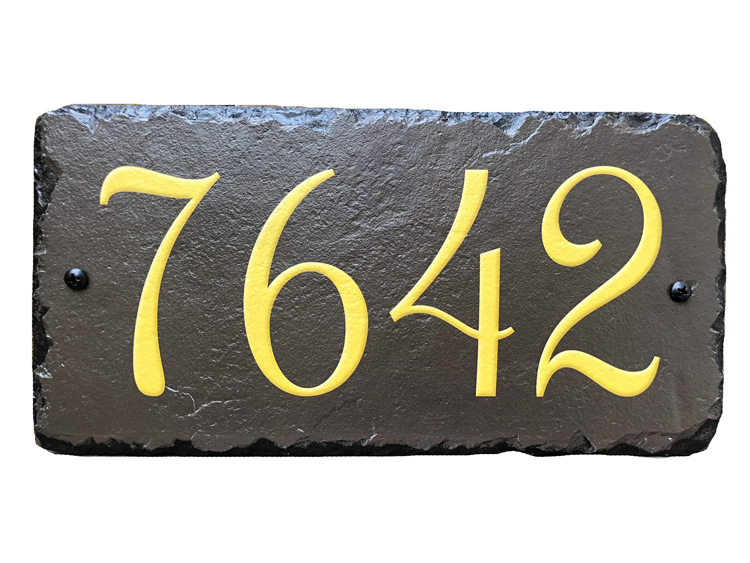 """Sassy Squirrel Beautifully Handcrafted and Customizable Slate Home Address Plaque (12''x6'' or 18""""x8"""") Personalized House Sign with and mounting Hardware. Improve The Curb Appeal of Your Property"""