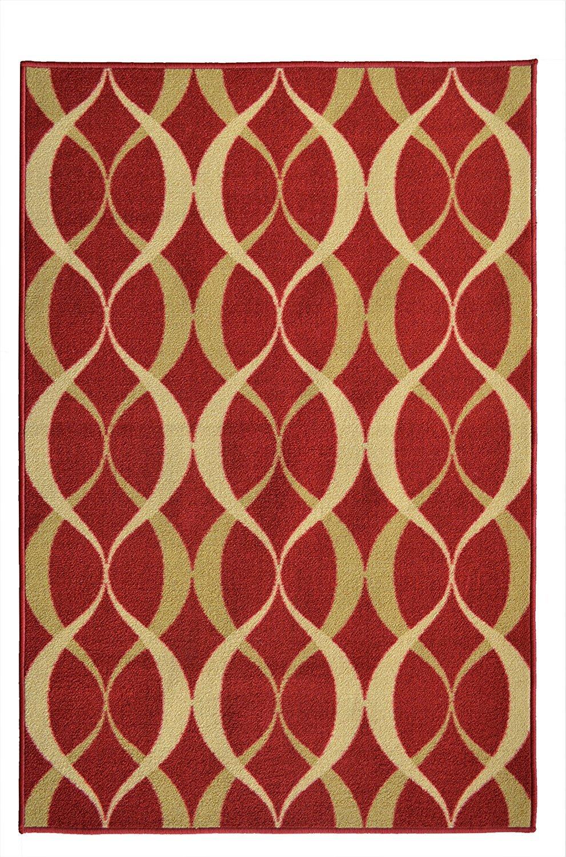 Burgundy and Gold 20 x 59 20 x 59 ADGO Collection Contemporary Moroccan Mediterranean Trellis Lattice Design Rubber-Backed Non-Slip Non-Skid Area Rugs