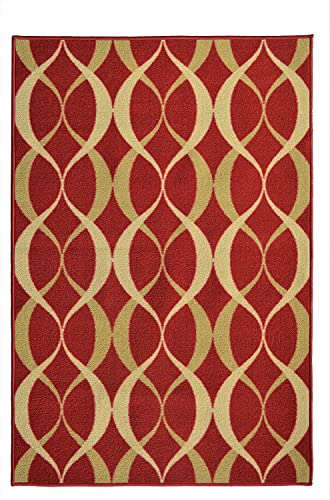 ADGO Non-Slip Rug Collection Rubber Back Washable Non-Skid Area Rugs Throw Rugs for Entryway, Bedroom and Kitchen Thin Low Profile Indoor Outdoor Floor Rug 6 x 9 , AD10020, Red