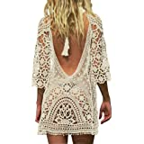 Jeasona Women's Bathing Suit Cover Up Crochet Lace Bikini Swimsuit Dress