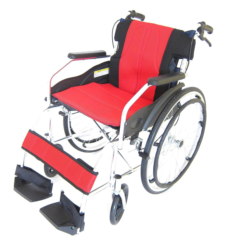 アルミ製自走式車椅子 チャップスDB 全10色 ドラムブレーキ 軽量 自走式 アルミ 車椅子 ノーパンクタイヤ 駐車&介助ブレーキ付き 折りたたみ式 背折れ 車イス 介助用 A101-DBB (イタリアンレッド) B00JOZS33S  イタリアンレッド