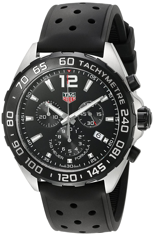 669613217772 Amazon.com  TAG Heuer Men s  Formula 1  Swiss Quartz Stainless Steel and  Rubber Dress Watch